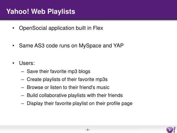 Yahoo! Web Playlists