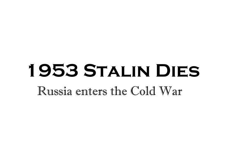 1953 Stalin Dies