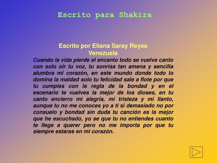 Escrito para Shakira