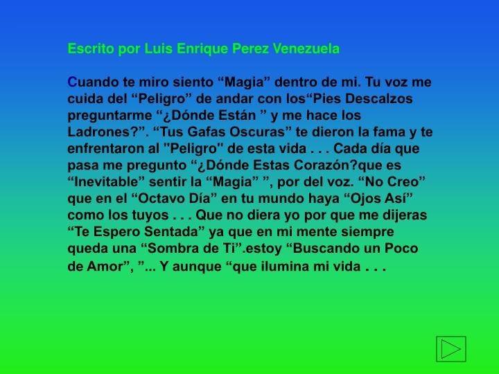 Escrito por Luis Enrique Perez
