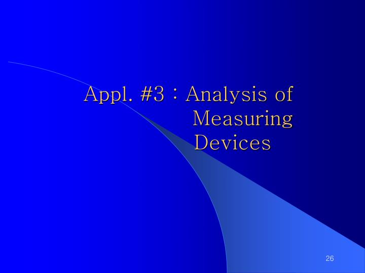 Appl. #3 : Analysis of