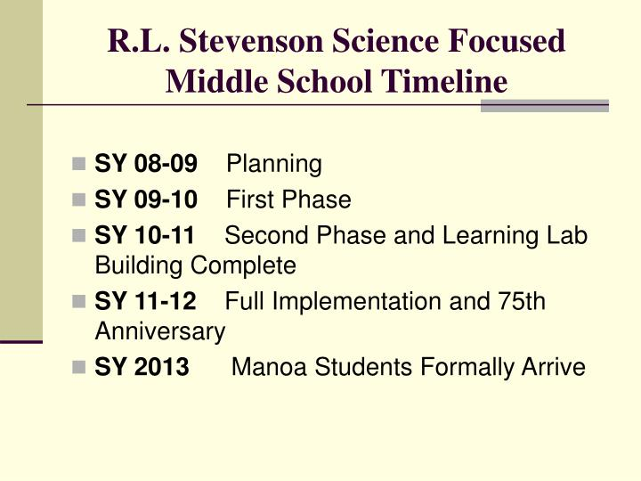 R l stevenson science focused middle school timeline