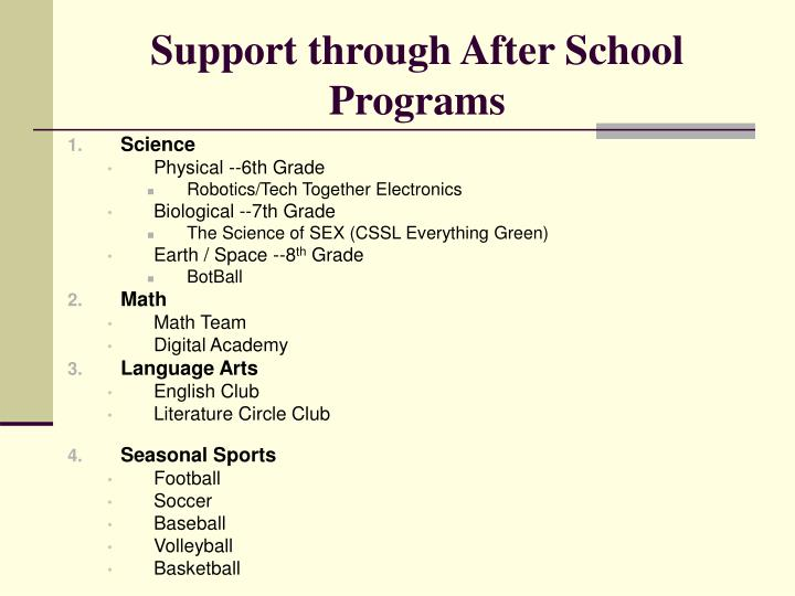 Support through After School Programs