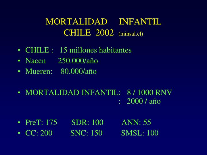 MORTALIDAD     INFANTIL             CHILE  2002
