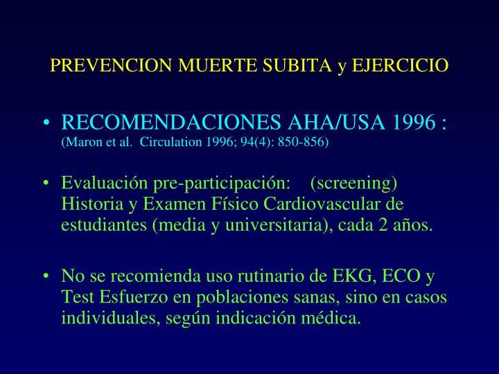 PREVENCION MUERTE SUBITA y EJERCICIO