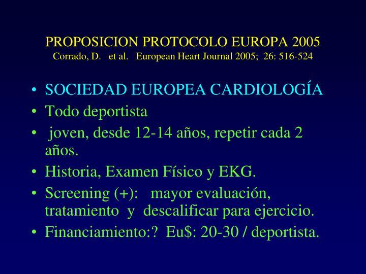 PROPOSICION PROTOCOLO EUROPA 2005