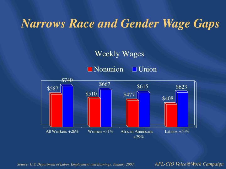 Narrows Race and Gender Wage Gaps