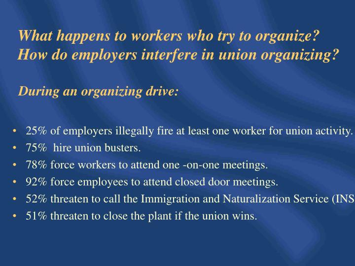 What happens to workers who try to organize?