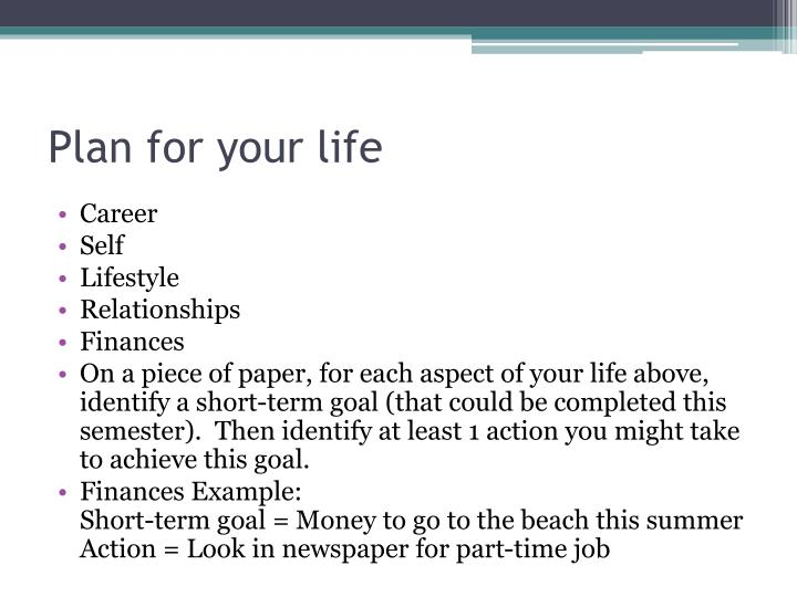 Plan for your life