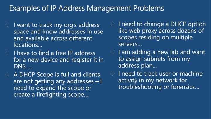 Examples of IP Address Management Problems