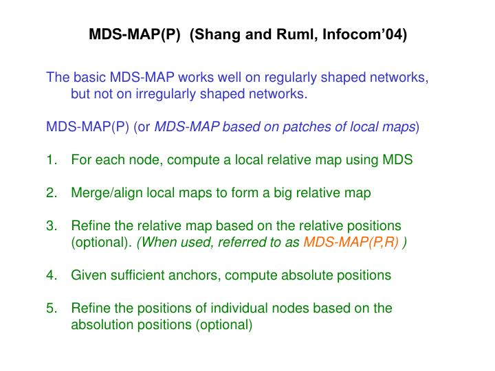 MDS-MAP(P)  (Shang and Ruml, Infocom'04)