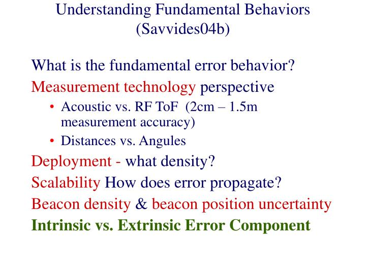 Understanding Fundamental Behaviors