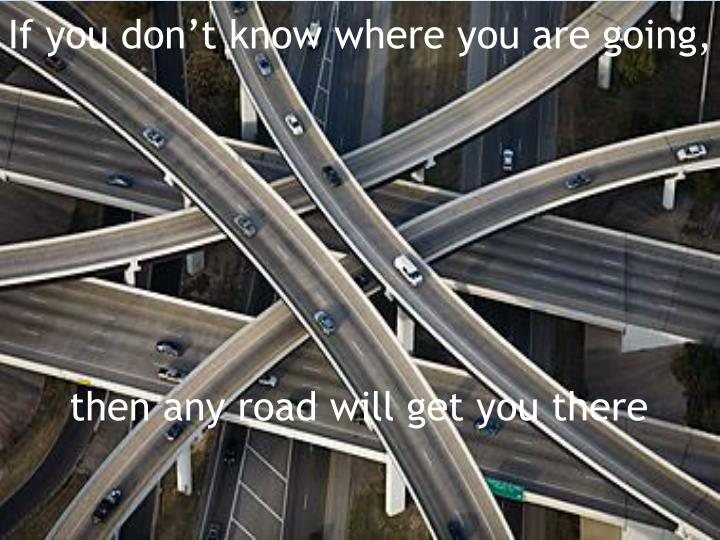 If you don't know where you are going,
