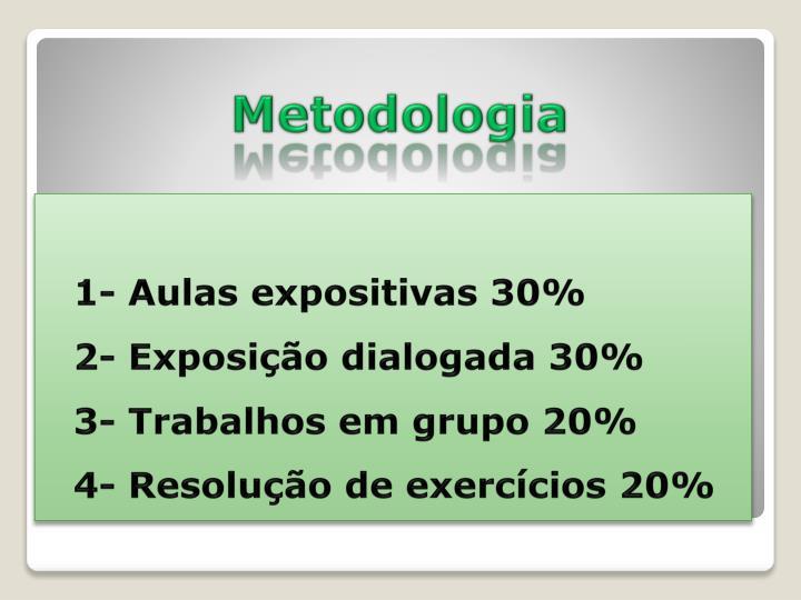 1- Aulas expositivas 30%