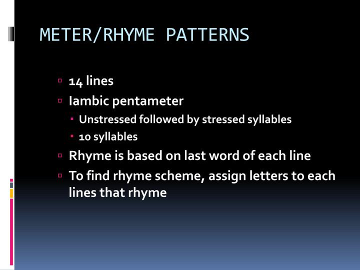 METER/RHYME PATTERNS