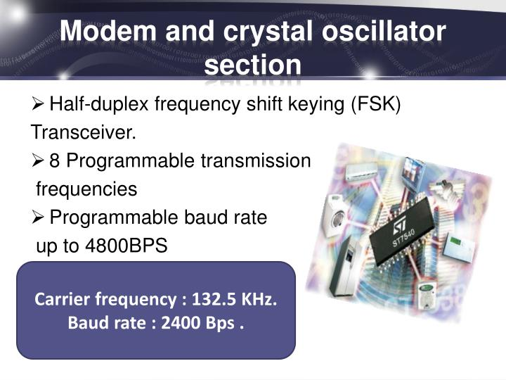Modem and crystal oscillator section