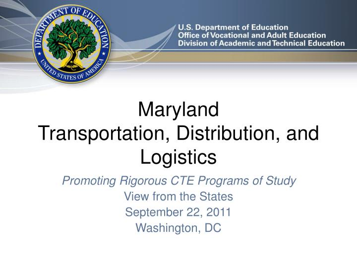 Maryland transportation distribution and logistics