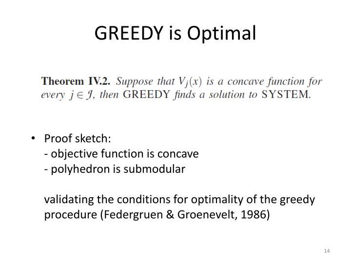 GREEDY is Optimal