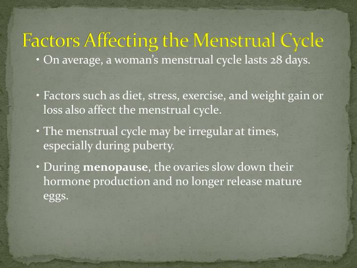 Factors Affecting the Menstrual Cycle