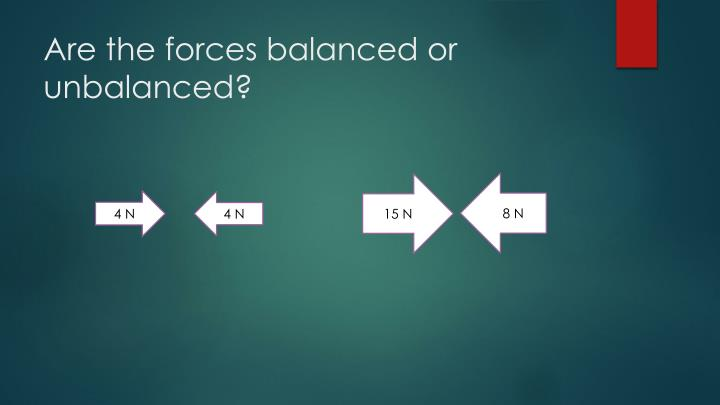 Are the forces balanced or unbalanced?