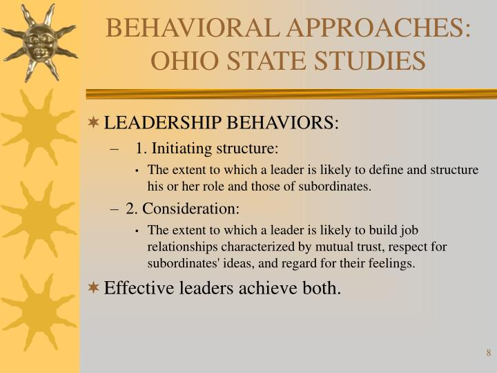 BEHAVIORAL APPROACHES: