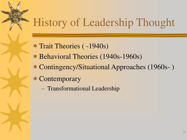 History of Leadership Thought