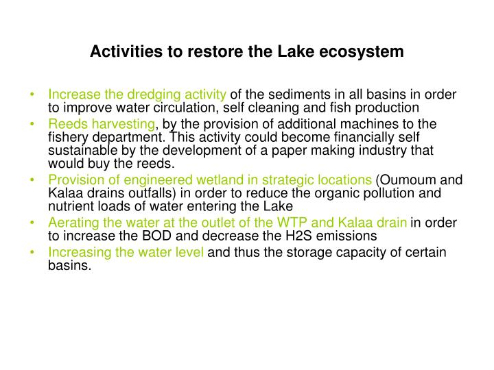 Activities to restore the Lake ecosystem