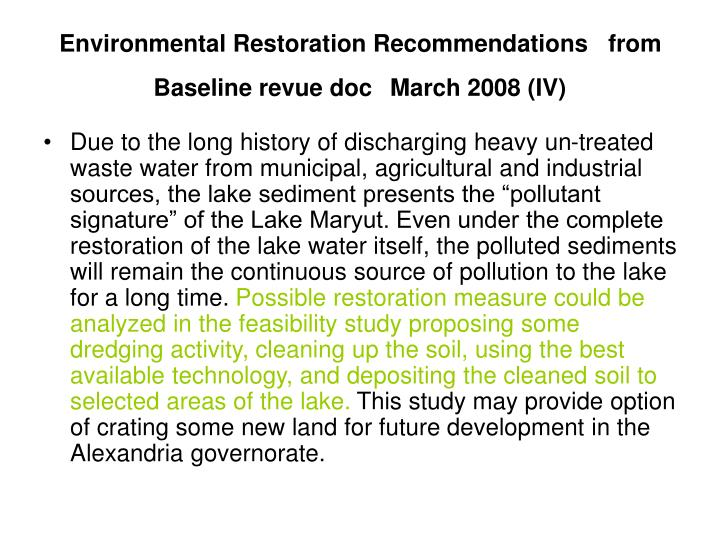 Environmental Restoration Recommendations   from Baseline revue doc