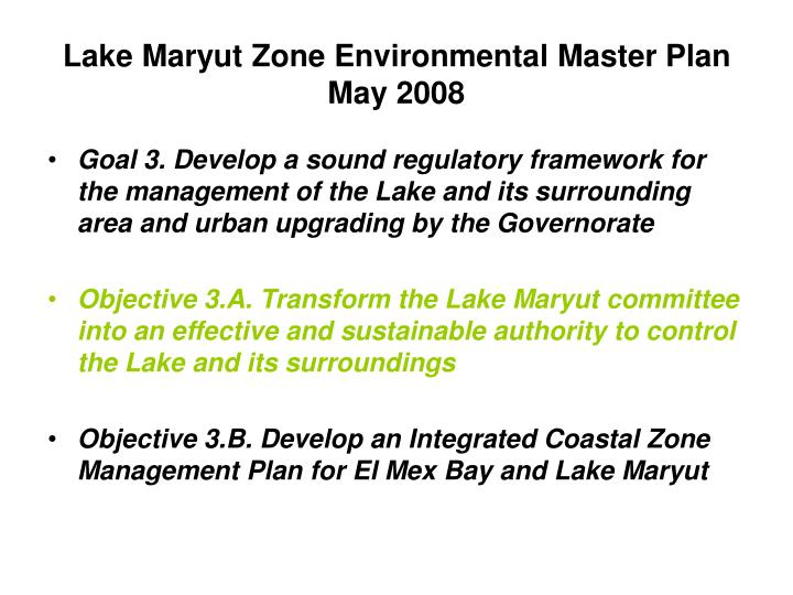 Lake Maryut Zone Environmental Master Plan