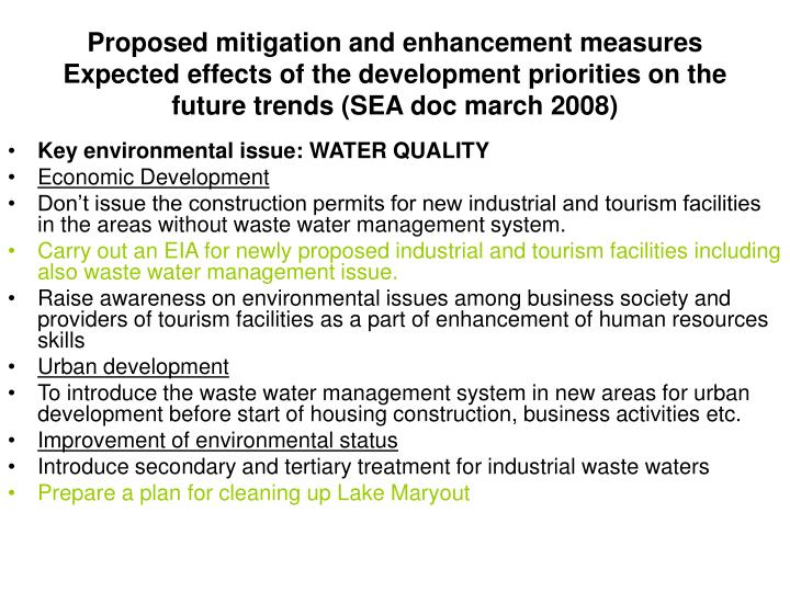 Proposed mitigation and enhancement measures  Expected effects of the development priorities on the future trends (SEA doc march 2008)