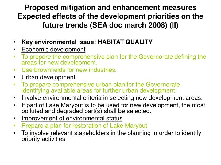Proposed mitigation and enhancement measures  Expected effects of the development priorities on the future trends (SEA doc march 2008) (II)