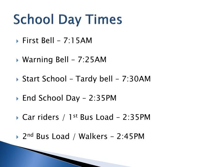 School day times