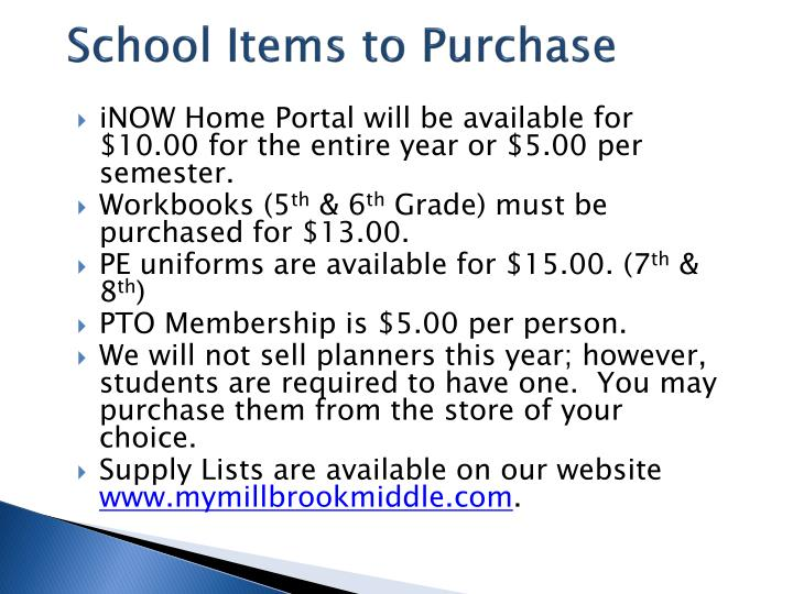 School Items to Purchase
