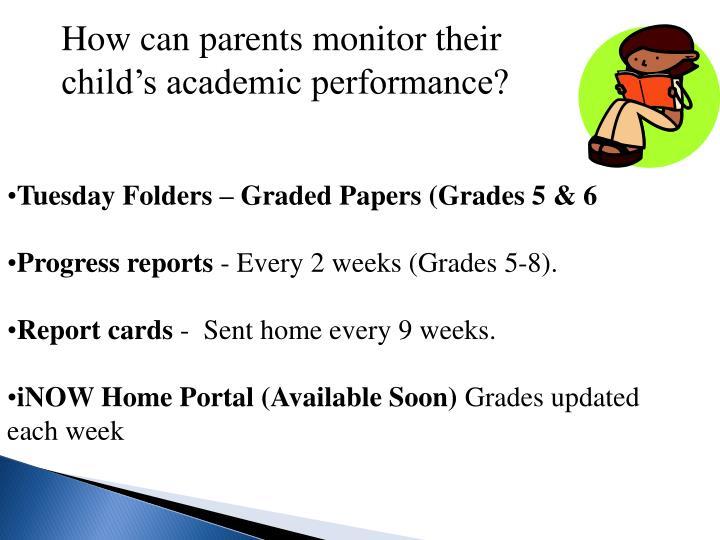 How can parents monitor their child's academic performance?