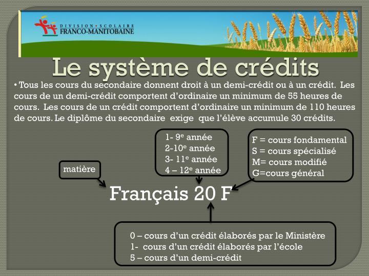Le système de crédits
