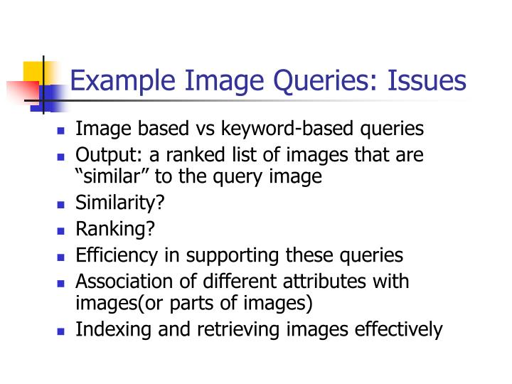 Example Image Queries: Issues