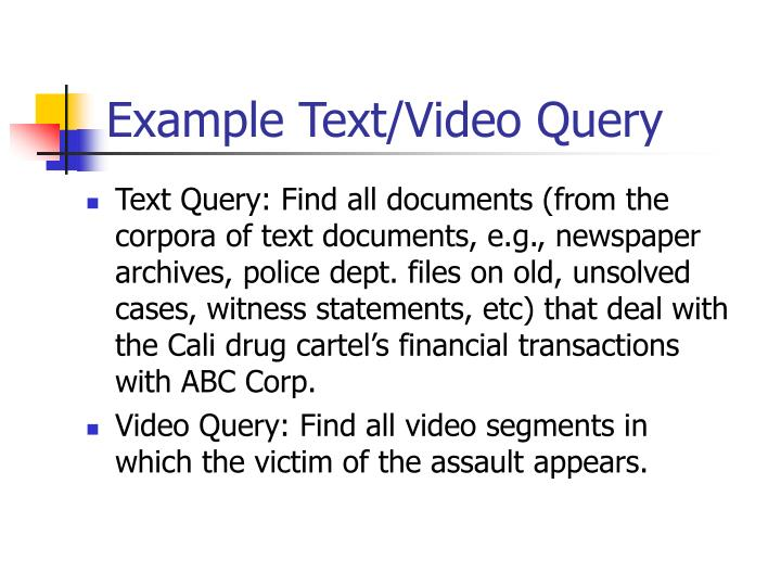 Example Text/Video Query