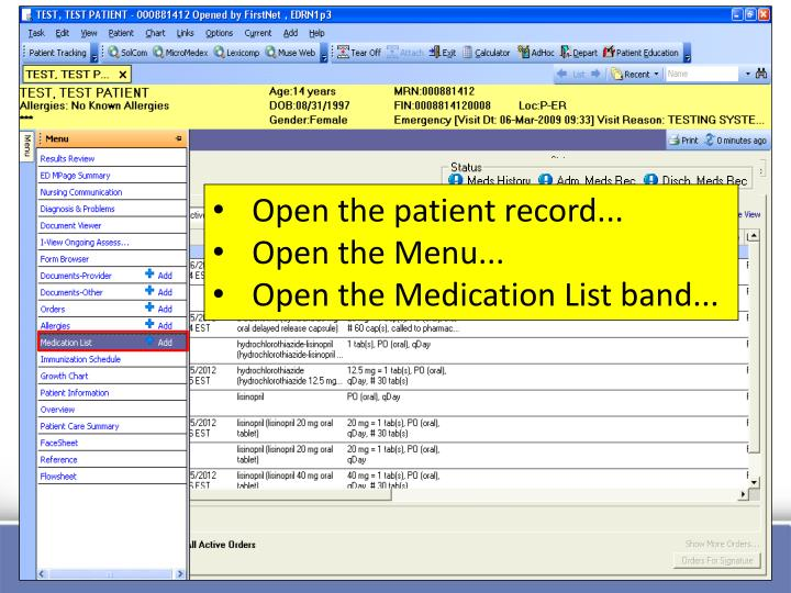 Open the patient record...