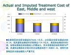 actual and imputed treatment cost of east middle and west