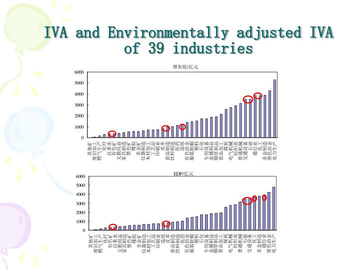 IVA and Environmentally adjusted IVA of 39 industries