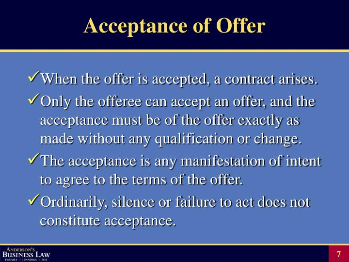 Acceptance of Offer