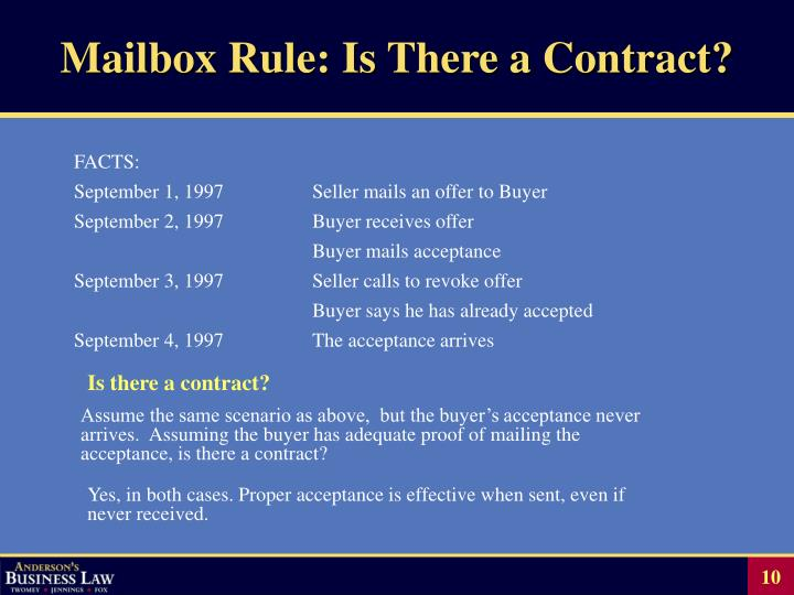 Mailbox Rule: Is There a Contract?