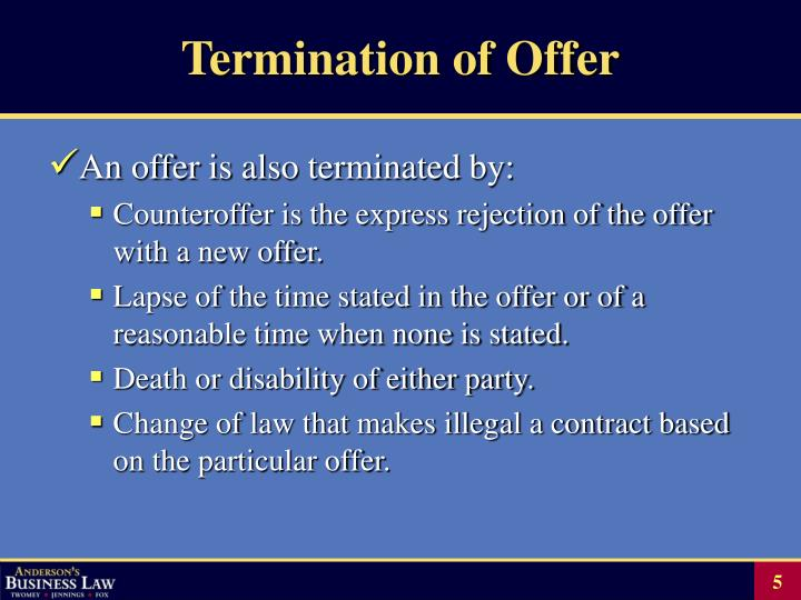 Termination of Offer