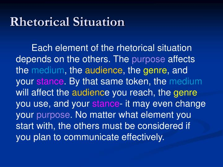 Each element of the rhetorical situation depends on the others. The