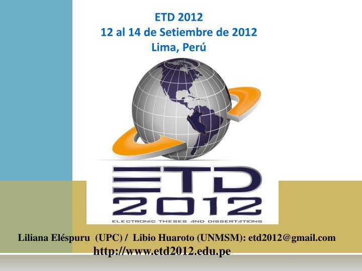 ETD 2012