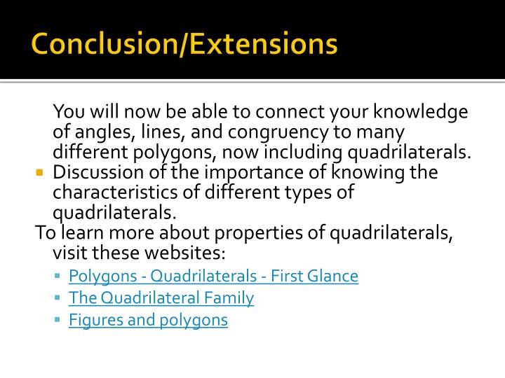 Conclusion/Extensions