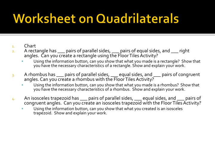 Worksheet on Quadrilaterals