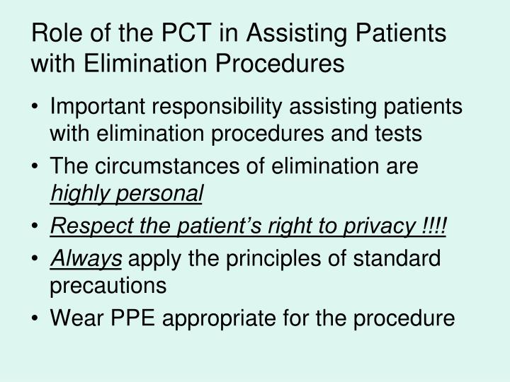 Role of the PCT in Assisting Patients with Elimination Procedures