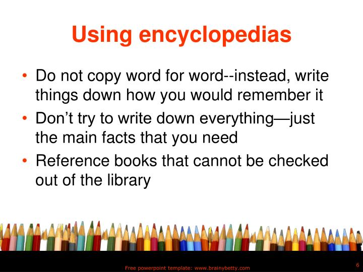 Using encyclopedias