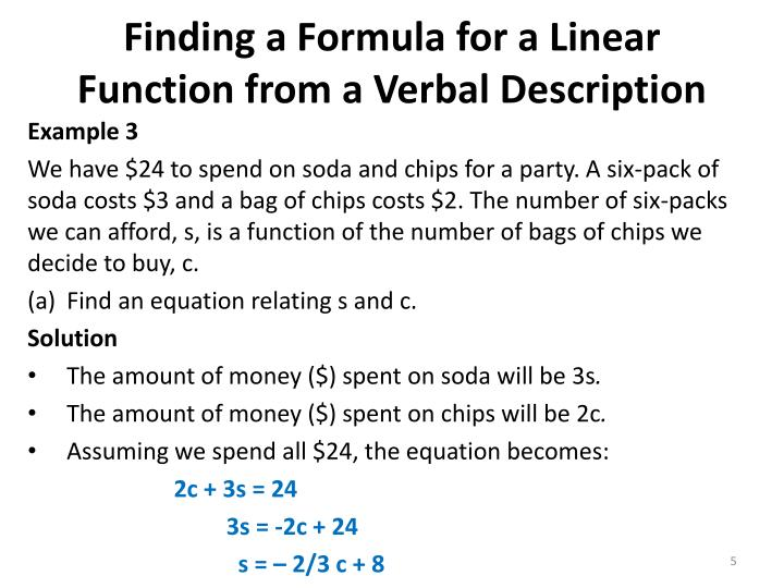 Finding a Formula for a Linear Function from a Verbal Description